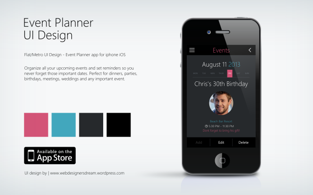 Event Planner - Flat UI Design by Zoe Love 1 dark