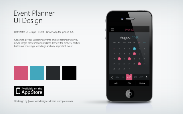 Event Planner - Flat UI Design by Zoe Love 2 dark