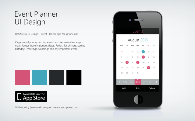 Event Planner - Flat UI Design by Zoe Love 2