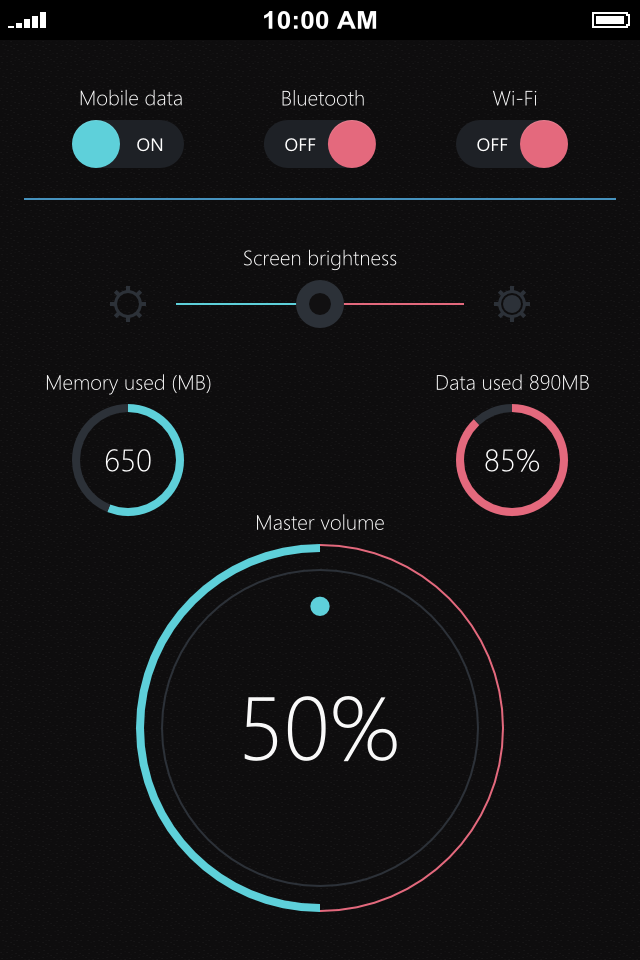 Widgets - UI Design Dark by Zoe Love