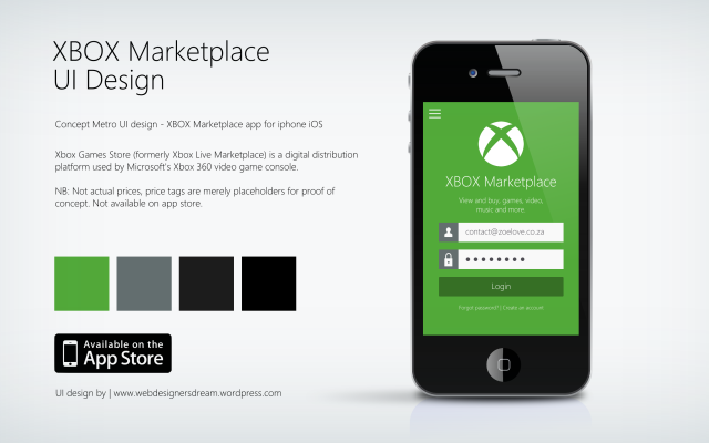 Xbox Marketplace concept - Metro UI Design by Zoe Love